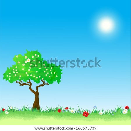 Spring vector Background with tree and flowers - stock vector