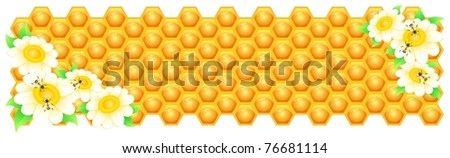 Spring vector illustration, bee, honey banner. EPS8, all parts closed, possibility to edit. - stock vector