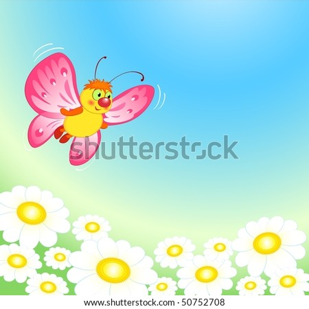 Spring vector illustration, butterfly. EPS8, all parts closed, possibility to edit. - stock vector