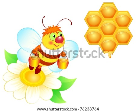 Spring vector illustration, flying bee, bee with honey. EPS8, all parts closed, possibility to edit. - stock vector