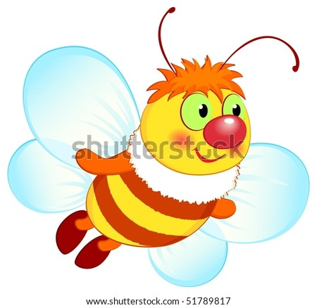 Spring vector illustration, flying bee. EPS8, all parts closed, possibility to edit. - stock vector