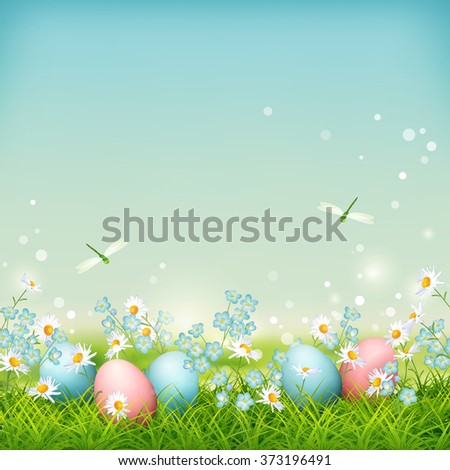 Spring vector landscape with Easter eggs, flowers and dragonflies on meadow