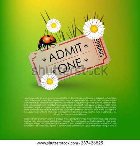 Spring vector ticket with space for text  - stock vector