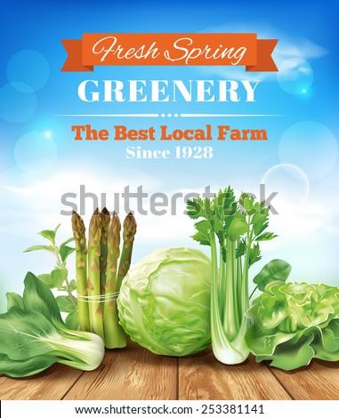 Spring vegetables poster design. Vector eps 10. - stock vector
