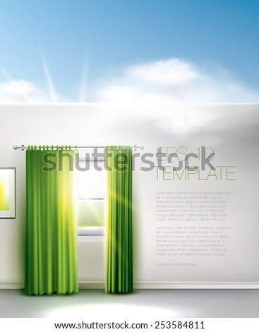 Spring window in a room without ceilings with sky and clouds above all - stock vector