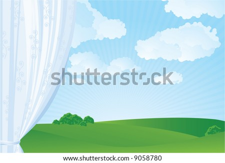 Spring window. Vector. - stock vector