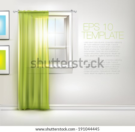 Spring window with green curtains. Editable EPS 10 vector template.  - stock vector