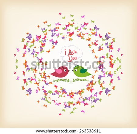 spring with butterflies and couple bird the wreath - stock vector