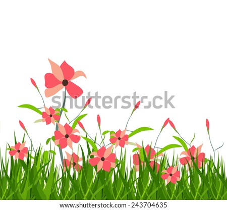 spring with flower - stock vector