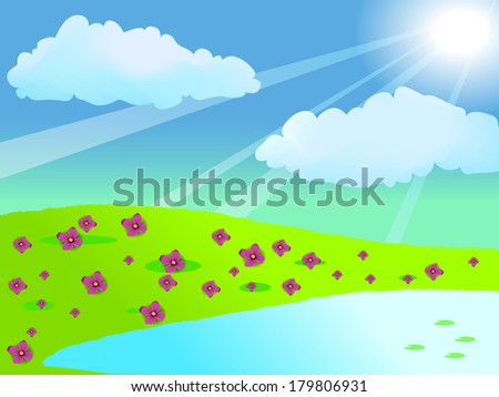 Spring with flowers and bright sky/Nature Spring - stock vector