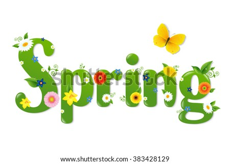 Spring With Gradient Mesh, Vector Illustration - stock vector