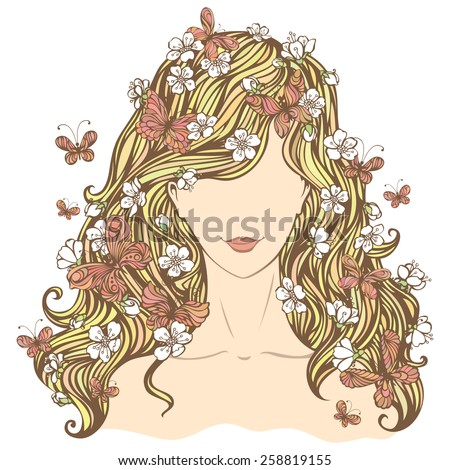 Spring woman. Illustration of woman with flowers and butterflies in her hair isolated on white background.  - stock vector