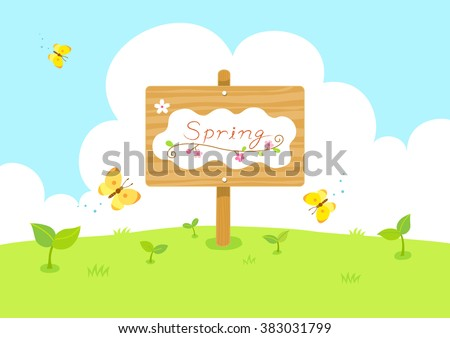 Spring wooden sign with butterfly and sprout.Sky and grass background - stock vector