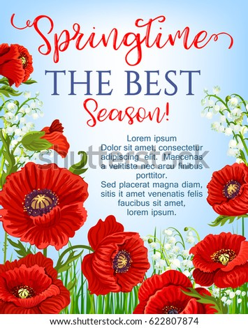 Springtime blooming red flowers design vector stock vector royalty springtime blooming red flowers design for vector greeting poster garden poppy flowers bunches and flourish mightylinksfo