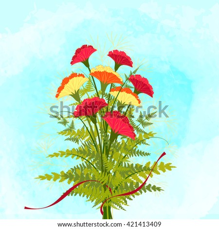 Springtime Colorful Carnation Flower Background - stock vector