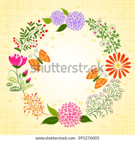 Springtime Colorful Flower and Butterfly Background - stock vector
