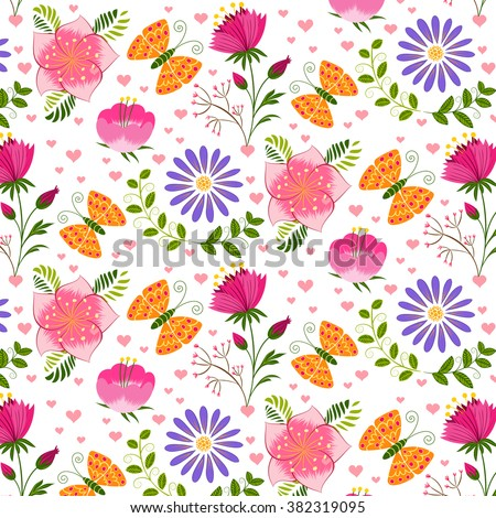 Springtime Colorful Flower and Butterfly Pattern Background - stock vector