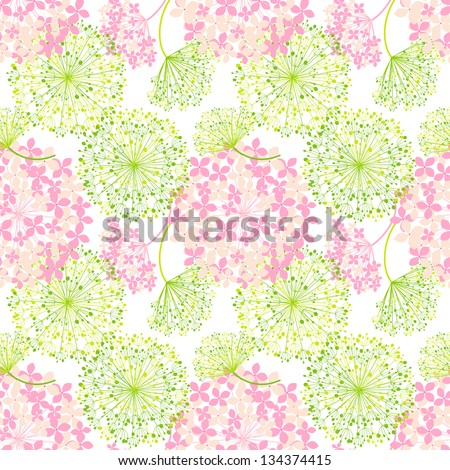 Springtime Colorful Flower Seamless Pattern Background - stock vector