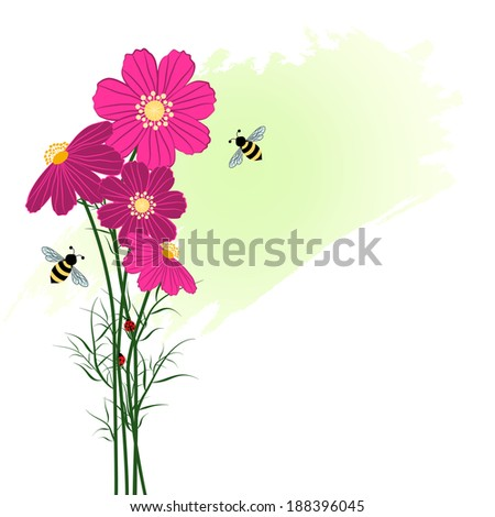 Springtime Colorful Flower with Bee Background - stock vector