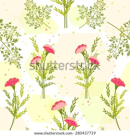 Springtime Colorful Flower with Herb Background Pattern - stock vector