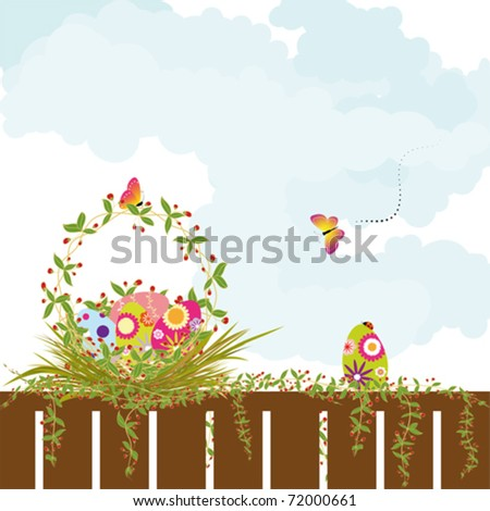 Springtime Easter holiday wallpaper colorful eggs with butterfly