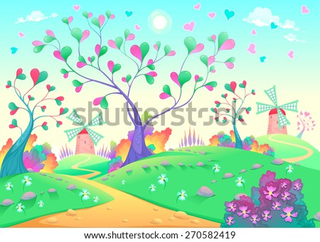 Springy landscape with windmills. Funny cartoon and vector illustration. - stock vector