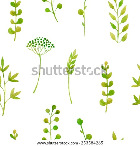 Sprint plants seamless background. Vector watercolor. Fresh green colors. - stock vector