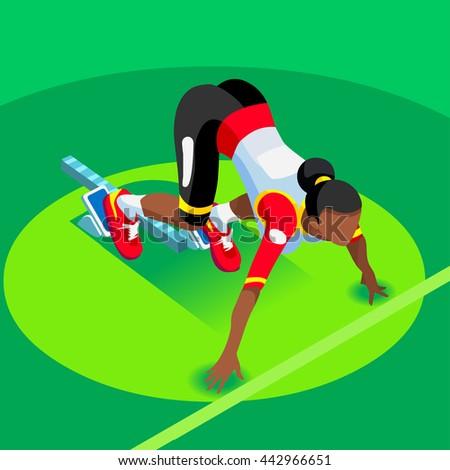 Sprinter Runner Athlete at Starting Line Athletics Race Start 2016 Summer Games Icon Set.3D Flat Isometric Sport of Athletics Runner Athlete at Starting Blocks.Olympics Sport Infographic Vector Image - stock vector