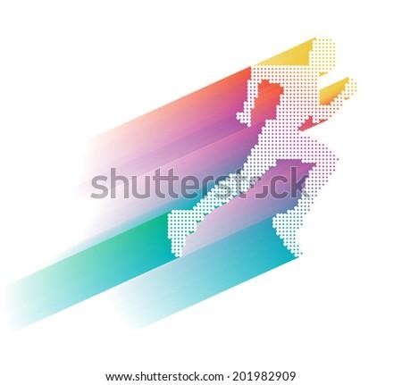 Sprinter, sportsman vector illustrations - stock vector