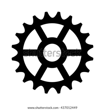 Sprocket cogwheel gear / machine part flat icon for apps and websites - stock vector