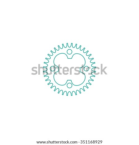 Sprockets Outline vector icon on white. Line symbol pictogram  - stock vector