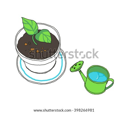Sprout in a flowerpot and watering can. Green leaves. Vector hand-drawn sketch. - stock vector