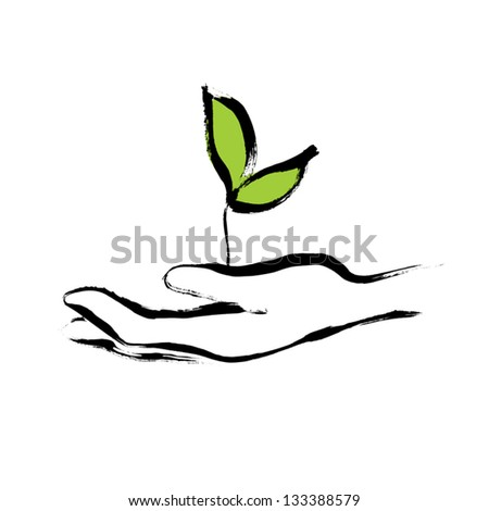 Sprout in hand. - stock vector