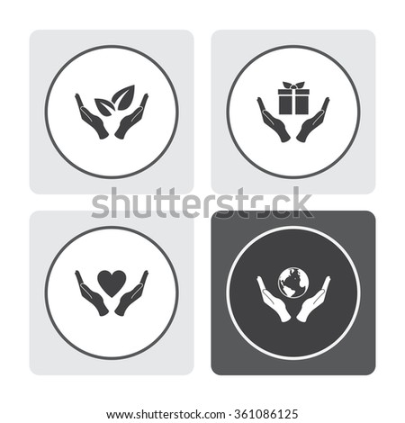 Sprout in hand sign of environmental protection vector icon. Eco sign. Hand and gift vector icon. Heart in hand vector icon. Globe icon with hand vector icon. - stock vector