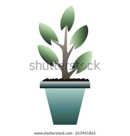 Sprout in Pot. Vector illustration. The concept of growth and be handled with care - stock vector
