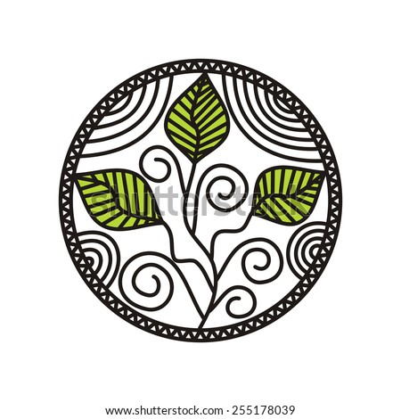 Sprout round pattern design element vector illustration - stock vector
