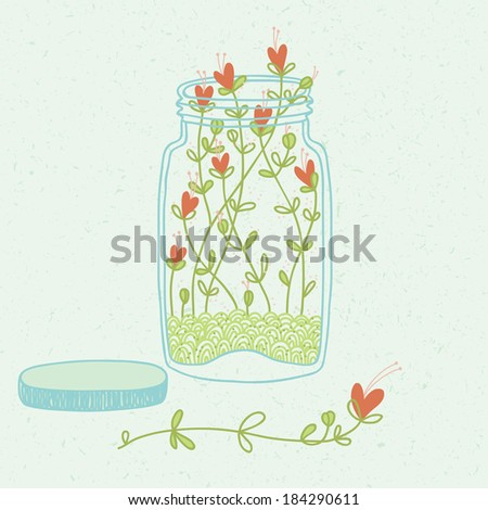 Sprouted heart flowers in the glass jar - stock vector