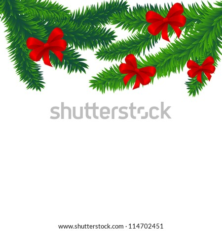 Spruce branches decorated with red bows, vector background - stock vector