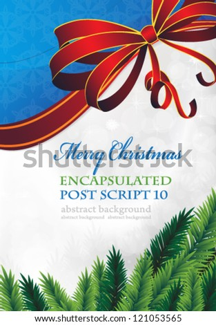 Spruce branches on a sparkling background with red bow - stock vector