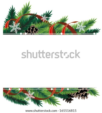 Spruce branches with cones and red ribbons - stock vector
