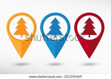 Spruce pine tree map pointer, vector illustration. Flat design style  - stock vector