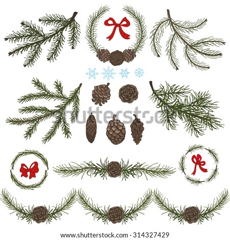 Spruce tree green branches,Christmas tree,pine cones,red bow.Fir tree isolated decor elements.Wreath,garland for invitations cards.New year holiday vector,nature wood illustration,Winter template - stock vector