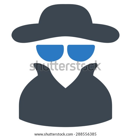 Spy icon from Business Bicolor Set. Vector style: bicolor flat symbol, smooth blue colors, rounded angles, white background. - stock vector