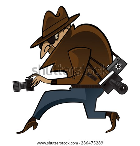 Spy or paparazzi sneaks with photo cameras - stock vector