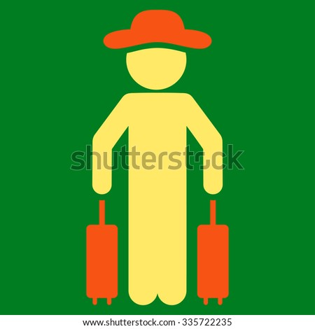 Spy Passenger vector icon. Style is bicolor flat symbol, orange and yellow colors, rounded angles, green background. - stock vector