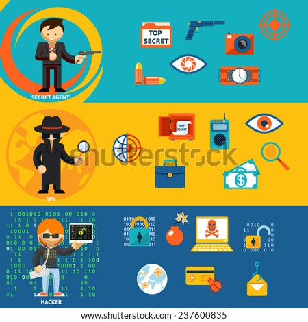 Spy, secret agent and cyber hacker with characteristic objects and their accessories. Vector illustration - stock vector