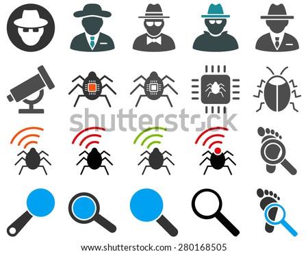 Spy vector icon set. Symbols on a white background. - stock vector