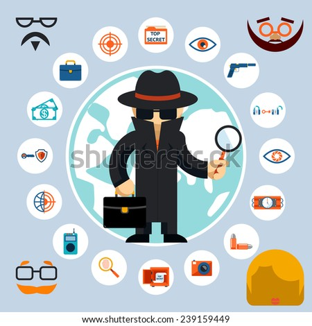 Spy with accessories icons. Spy in the black coat and hat with a magnifying glass and briefcase. Vector illustration - stock vector