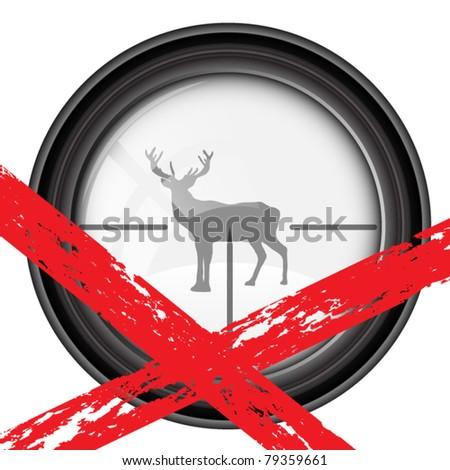 Spyglass with stag - stock vector