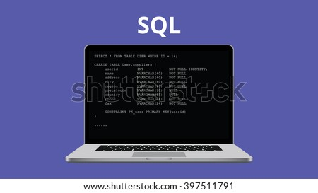 sql syntax programming illustration with laptop and code program - stock vector